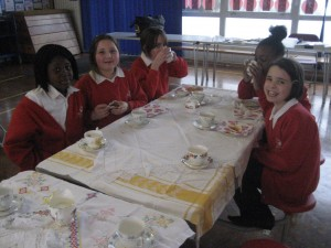 Ladies from year 6 enjoying tea and cake!