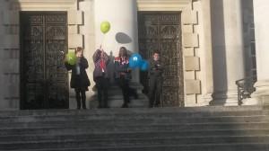 On steps of Civic Hall